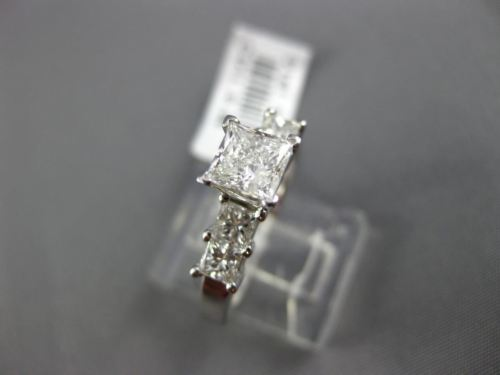 ESTATE 1.31CT PRINCESS DIAMOND 14K WHITE GOLD CLASSIC FIVE STONE ENGAGEMENT RING