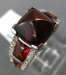 ESTATE 9.28CT DIAMOND & AAA GARNET 14K WHITE GOLD 3D PYRAMID COCKTAIL RING #2040