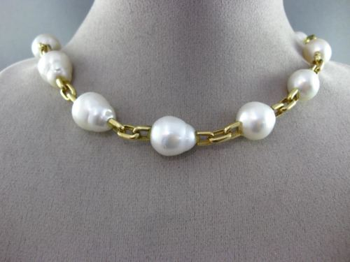 ESTATE LARGE 18KT YELLOW GOLD 3D SOUTH SEA PEARL BY THE YARD CHOKER NECKLACE