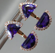 1.25CT DIAMOND & AAA AMETHYST 14KT ROSE GOLD SEMI MOON ILLUSION HANGING EARRINGS