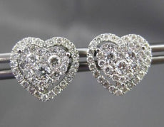 ESTATE LARGE .93CT DIAMOND 18KT WHITE GOLD HALO HEART STUD EARRINGS WITH JACKETS