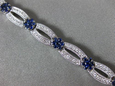 ESTATE WIDE 3.24CT DIAMOND & AAA SAPPHIRE 14KT WHITE GOLD FLOWER TENNIS BRACELET