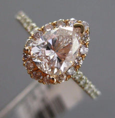 GIA 1.45CT PINK & WHITE DIAMOND 14KT WHITE GOLD PEAR SHAPED HALO ENGAGEMENT RING