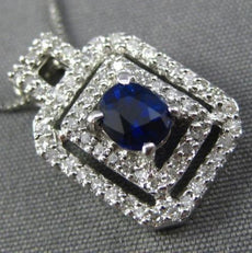 ESTATE .73CT DIAMOND & SAPPHIRE 14KT WHITE GOLD OCTAGON DOUBLE HALO OVAL PENDANT