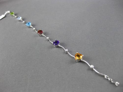ESTATE WIDE 4.50CTW DIAMOND & AAA MULTI GEM 14KT WHITE GOLD HEART LOVE BRACELET