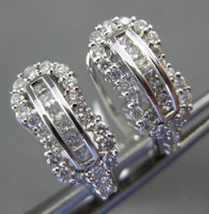 WIDE 1.36CT ROUND & PRINCESS DIAMOND 14KT WHITE GOLD LOVE KNOT HANGING EARRINGS