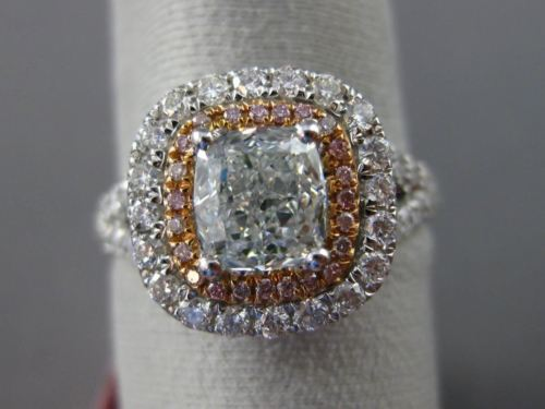 LARGE GIA 2.02CT FANCY COLOR DIAMOND 18KT WHITE & ROSE GOLD HALO ENGAGEMENT RING