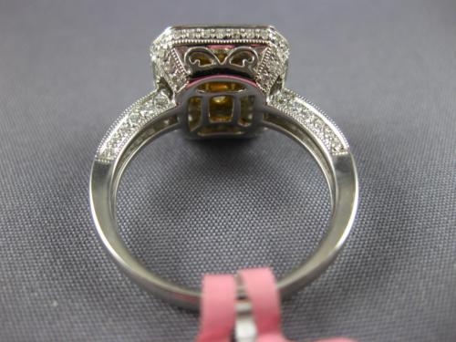 ESTATE LARGE GIA 2.79CT WHITE & CANARY DIAMOND 18K TWO TONE GOLD ENGAGEMENT RING