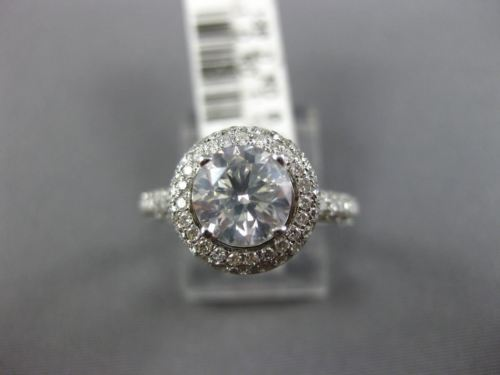 GIA CERTIFIED 1.82CT DIAMOND 14KT WHITE GOLD CLASSIC DOUBLE HALO ENGAGEMENT RING