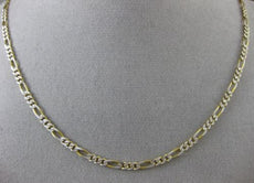 ESTATE LONG 14KT WHITE & YELLOW GOLD FIGARO NECKLACE CHAIN W/ LOBSTER LOCK 24751