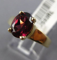 ESTATE 1.50CT RHODOLITE 14K YELLOW GOLD 3D SOLITAIRE OVAL LUCIDA ENGAGEMENT RING