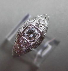 ANTIQUE WIDE .76CT DIAMOND 14K WHITE GOLD FILIGREE FLORAL ENGAGEMENT RING #19758