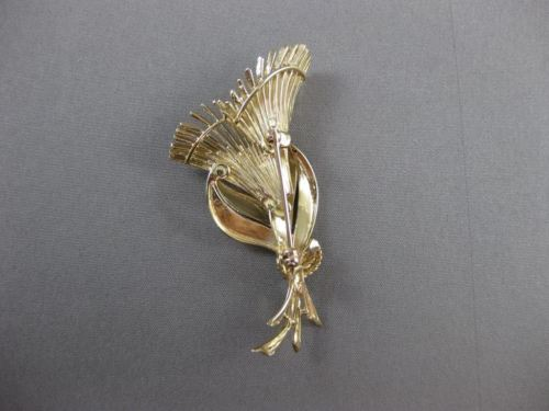 ANTIQUE LARGE 14KT YELLOW GOLD EXOTIC FLOWER BROOCH PIN SIMPLY AMAZING! #19766