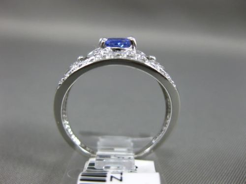 WIDE 1.05CT DIAMOND & AAA TANZANIITE 14KT WHITE GOLD 3D FILIGREE ENGAGEMENT RING