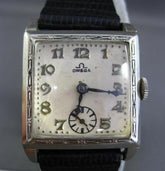 ANTIQUE 14KT WHITE GOLD OMEGA SQUARE FILIGREE MENS WATCH W/ BLACK LEATHER STRAP