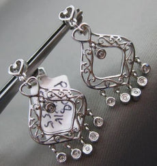ANTIQUE .06CT DIAMOND 14KT WHITE GOLD FILIGREE HEART ETOILE HANGING EARRINGS