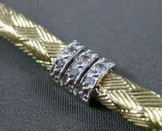 ESTATE WIDE & LONG .60CT DIAMOND 14KT WHITE & YELLOW GOLD STRIATED LINK BRACELET
