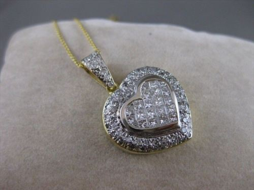 LARGE ESTATE 2.60CTW DIAMOND HEART 14K WHITE & YELLOW 2 TONE GOLD PENDANT #1878