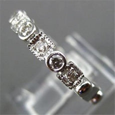 ESTATE .26CT DIAMOND 14KT WHITE GOLD ROUND & SQUARE FILIGREE ETERNITY RING 14417