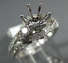 ESTATE LARGE .68CT DIAMOND 14K WHITE GOLD 3D FILIGREE SEMI MOUNT ENGAGEMENT RING