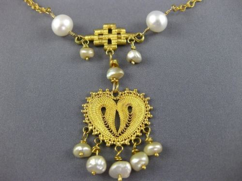 ANTIQUE AAA SOUTH SEA PEARL 20KT YELLOW GOLD 3D LARIAT CHANDELIER NECKLACE 26066