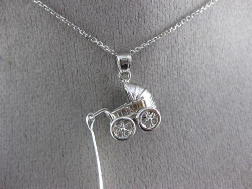 ANTIQUE 14KT WHITE GOLD 3D HANDCRAFTED BABY CARRIAGE FLOATING PENDANT & CHAIN