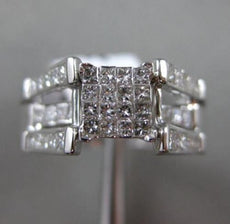 ESTATE WIDE 1CT DIAMOND 14K WHITE GOLD SQUARE FRIENDSHIP PROMISE ENGAGEMENT RING