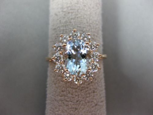 2.50CT DIAMOND & AQUAMARINE 14K ROSE GOLD 3D OVAL PRINCESS DIANA ENGAGEMENT RING