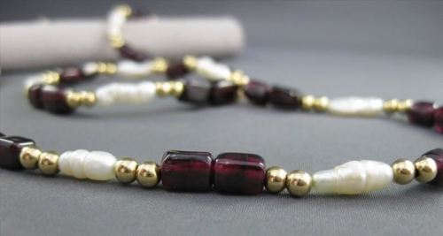 ANTIQUE LONG 14KT YELLOW GOLD AAA GARNET & PEARLS NECKLACE BEAUTIFUL!! #21983