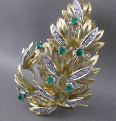 ANTIQUE LARGE DIAMOND EMERALD 18KT WHITE YELLOW GOLD FLOWER PIN BROOCH #20380