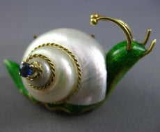 ESTATE LARGE .13CT SAPPHIRE MOTHER OF PEARL & ENAMEL 18K 2TONE GOLD SNAIL BROOCH