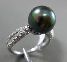 ESTATE .80CT DIAMOND 14K WHITE GOLD TAHITIAN PEARL 3 ROW INFINITY SOLITAIRE RING