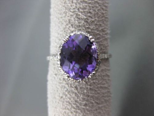ESTATE 2.81CT DIAMOND & AAA AMETHYST 14K WHITE GOLD 3D OVAL HALO ENGAGEMENT RING