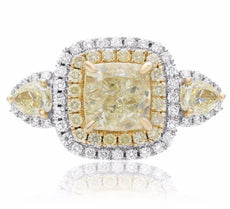 EGL LARGE 4.82CT WHITE & FANCY CANARY DIAMOND 18KT TWO TONE GOLD ENGAGEMENT RING