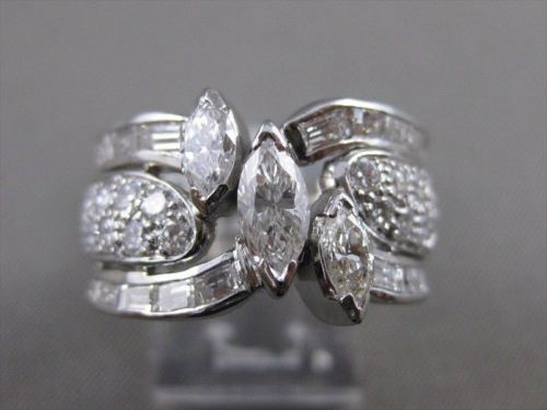 ESTATE WIDE 4.13CTW MARQUISE DIAMOND PLATINUM BAND ENGAGEMENT RING E/F VVS #2696