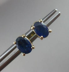 ESTATE 1.20CT AAA SAPPHIRE 14KT YELLOW GOLD SOLITAIRE OVAL STUD EARRINGS #22317
