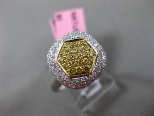 ESTATE WIDE .85CT DIAMOND 18KT WHITE & YELLOW GOLD SQUARE HEXAGON CLUSTER RING