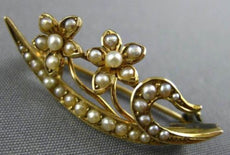 ANTIQUE AAA SOUTH SEA PEARL 14KT YELLOW GOLD 3D HANDCRAFTED FLOWER LEAF BROOCH