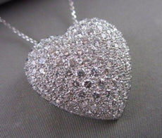 LARGE 6.50CT ROUND DIAMOND PAVE HEART PLATINUM LOVE PENDANT E/F VVS #21624