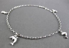 ESTATE LONG 14KT WHITE GOLD MULTI CHARM FUN ANKLE BRACELET BEAUTIFUL!! #23656