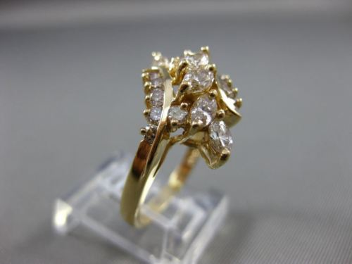 ESTATE LARGE 1.26CT MARQUISE & ROUND DIAMOND 14K YELLOW GOLD COCKTAIL RING 21999