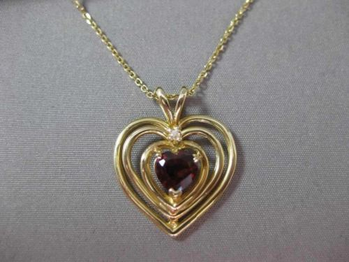 ANTIQUE 1.02CT AAA GARNET & DIAMOND 14K YELLOW GOLD FLOATING HEART PENDANT 21374