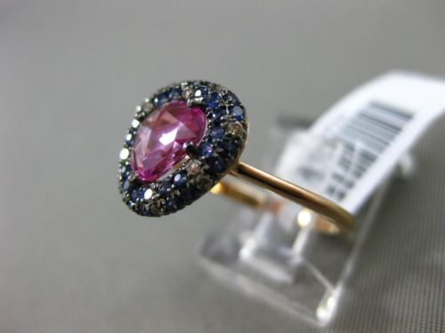 ANTIQUE 2.20CT DIAMOND & AAA BLUE & PINK SAPPHIRE 14KT ROSE GOLD 3D HALO RING