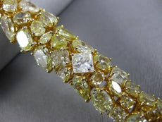 GIA WIDE 25.36CT FANCY YELLOW DIAMOND 18K YELLOW GOLD 3D CLUSTER TENNIS BRACELET