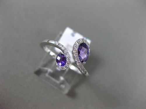 ESTATE WIDE .71CT DIAMOND & AAA OVAL AMETHYST 14KT WHITE GOLD 3D SNAKE LOVE RING