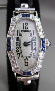 ANTIQUE LARGE .88CT OLD MINE DIAMOND & SAPPHIRE PLATINUM 3D FILIGREE WATCH 23851