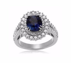 GIA CERTIFIED 3.92CT DIAMOND & AAA SAPPHIRE 14KT WHITE GOLD HALO ENGAGEMENT RING