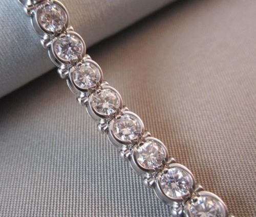 ANTIQUE WIDE 9.0CT 14KT WHITE GOLD DIAMOND TENNIS BRACELET SIMPLY BEAUTIFUL