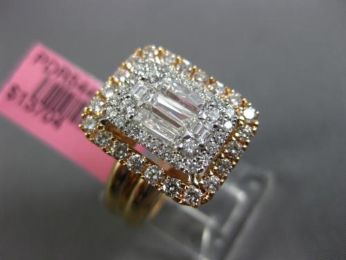 LARGE 1.43CT ROUND & BAGUETTE DIAMOND 18KT WHITE & ROSE GOLD 3D RECTANGULAR RING
