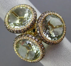 EFFY MASSIVE 18.15CT MULTI COLOR DIAMOND & GREEN AMETHYST 14KT YELLOW GOLD RING